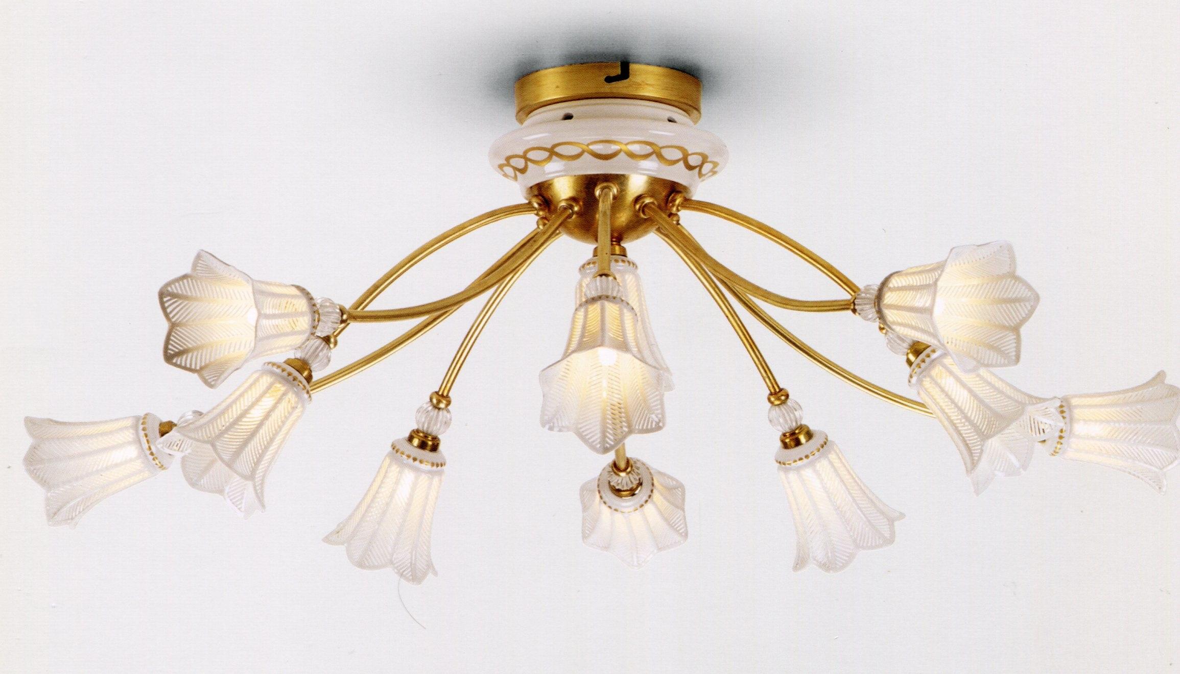 Lampadari E Plafoniere Abbinate : Plafoniera in porcellana e bronzo dorato plafoniere stil lamp